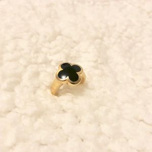 Authentic!!VCA Pure Alhambra 18K Gold Onyx Ring 55